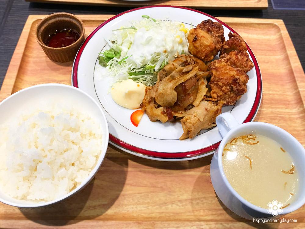 若鶏の唐揚げ&ポーク生姜焼き定食