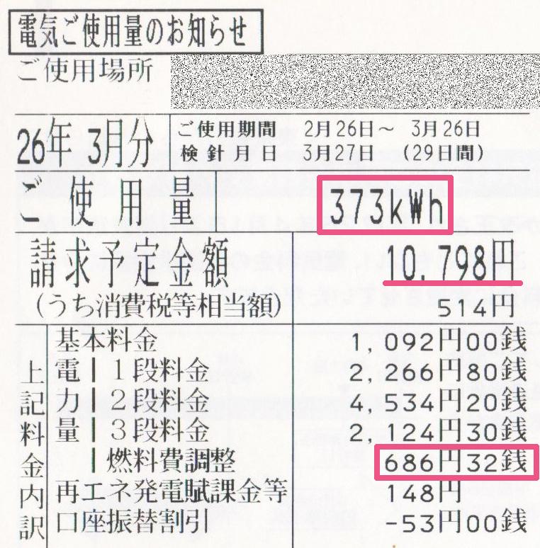 2014年3月電気使用明細