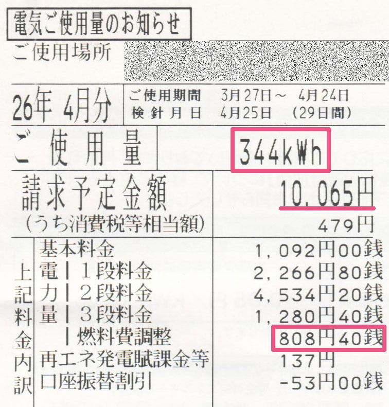 2014年4月電気使用明細