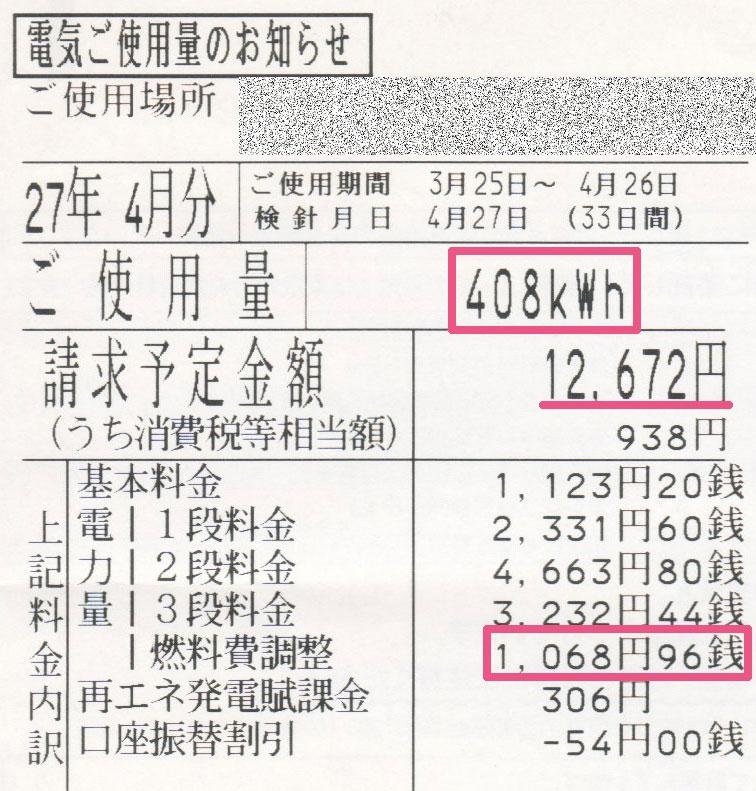 2015年4月電気使用明細