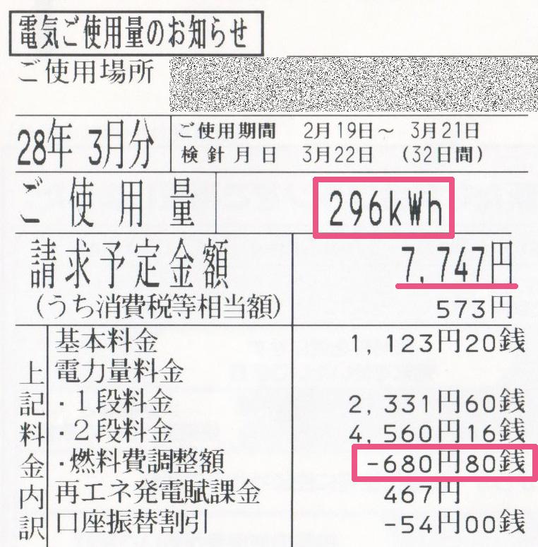 2016年3月電気使用明細