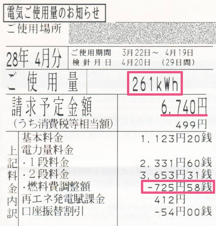 2016年4月電気使用明細