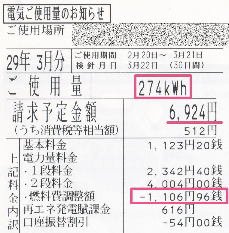 2017年3月電気使用明細