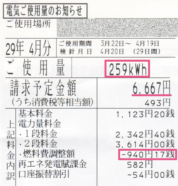 2017年4月電気使用明細