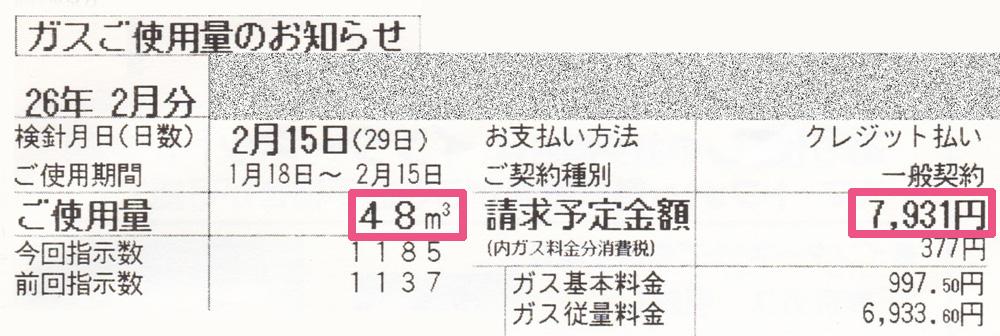 2014年2月のガス使用明細