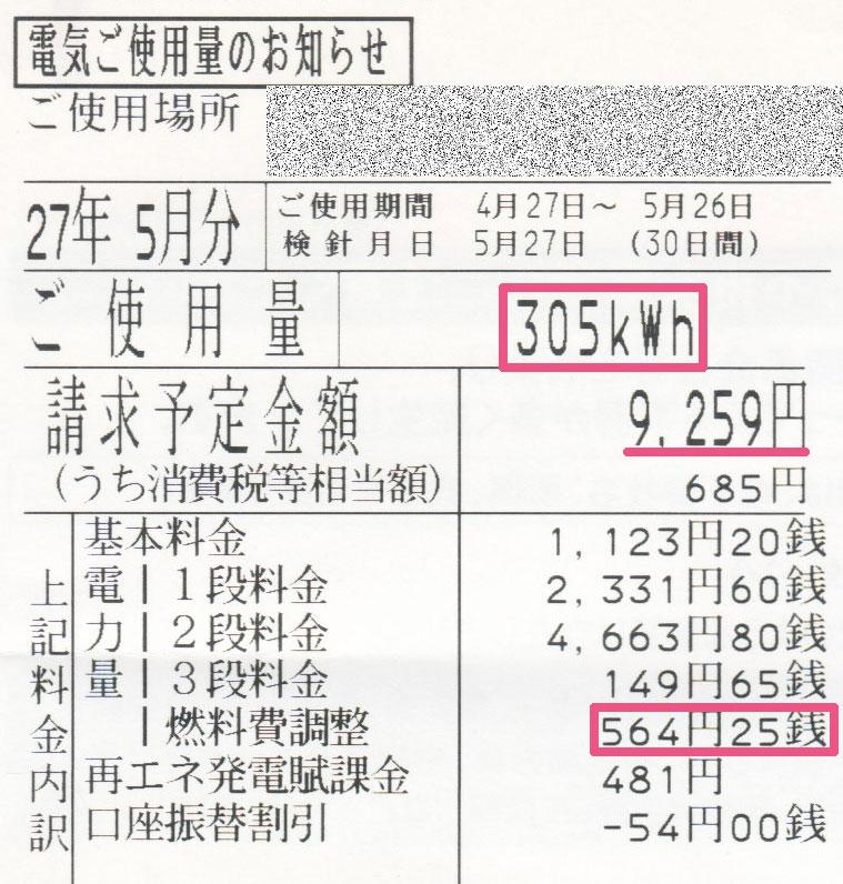2015年5月電気使用明細