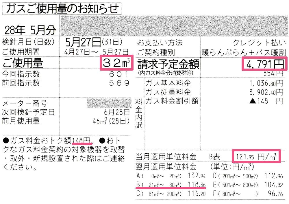 2016年5月ガス使用明細