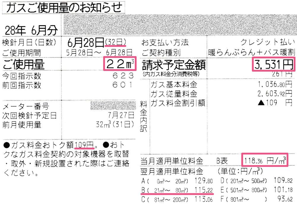2016年6月ガス使用明細