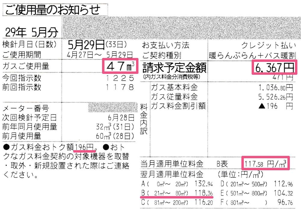 2017年5月ガス利用明細